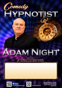 comedy hypnotist poster, Adam Night